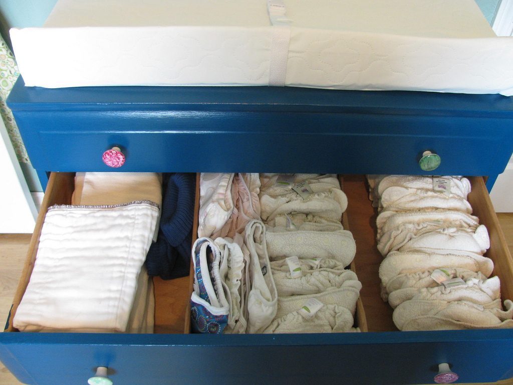 cloth diapers in a drawer