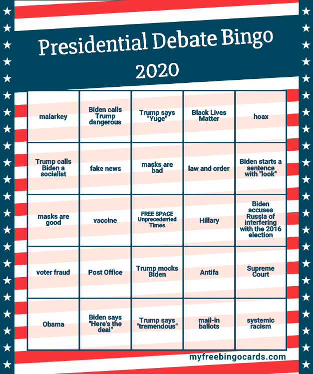 2020 Presidential Debates Sample Bingo Card