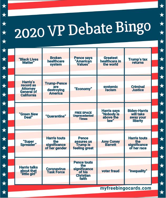 2020 VP Debate Bingo