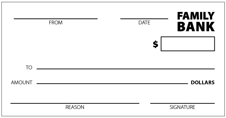 "Sample image of ""Family Bank"" check"
